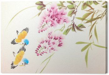 Tableau sur Toile Chinois oiseau peinture à l'encre et des plantes