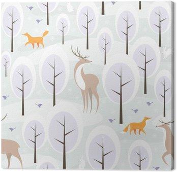 Tableau sur Toile Christmas seamless pattern avec l'image de la forêt d'hiver et les animaux sauvages