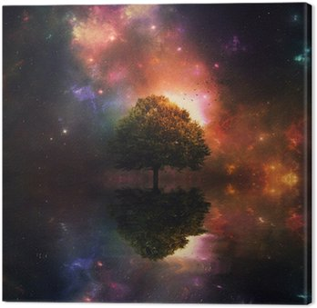 Tableau sur Toile Ciel de nuit et l'arbre