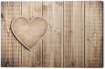 Tableau sur Toile Coeur bois