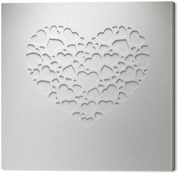 Tableau sur Toile Coeur de Saint-Valentin de petits coeurs sur la carte de papier