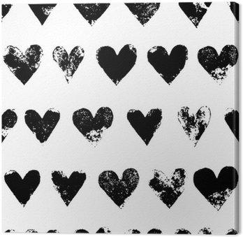 Tableau sur Toile Coeurs grunge impression noir et blanc seamless, vecteur