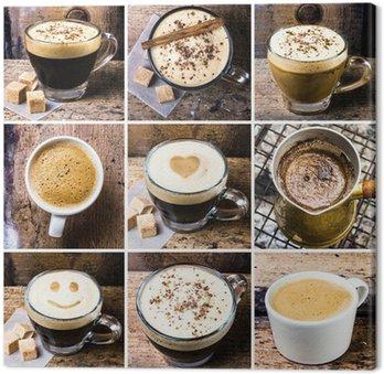 Tableau sur Toile Collage de café avec café espresso, cappuccino, latte et de moka