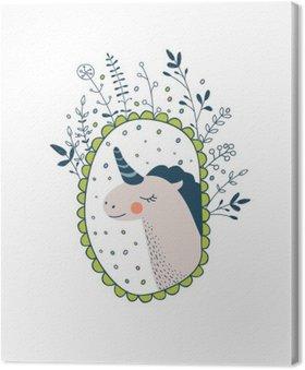 Tableau sur Toile Collection magique mignon avec des ailes licorne, arc en ciel, fée. Rêver