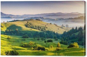 Tableau sur Toile Collines verdoyantes et montagnes