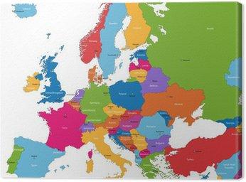 Tableau sur Toile Colorful carte de l'Europe avec les pays et capitales