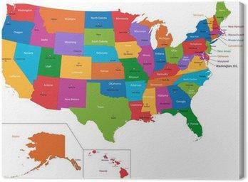 Tableau sur Toile Colorful Carte des Etats Unis avec les États et les capitales