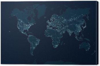 Tableau sur Toile Communications carte du réseau du monde