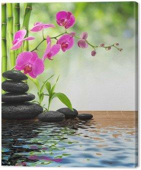 Tableau sur Toile Composition de bambou violet pierres orchidée-noir