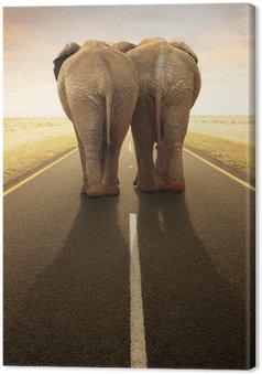 Tableau sur Toile Conceptuel - Partir ensemble / voyage par la route