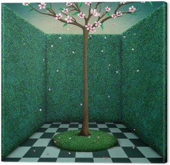 Tableau sur Toile Conte fantastique illustration ou poster chambre verte et des arbres