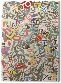 Tableau sur Toile Contexte de lettres déchirées dans les journaux, les bords rugueux