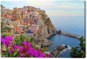 Tableau sur Toile Côte des Cinque Terre en Italie avec des fleurs