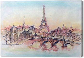 Tableau sur Toile Coucher de soleil à Paris.