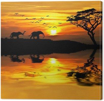 Tableau sur Toile Coucher de soleil en Afrique