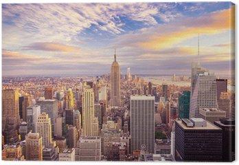Tableau sur Toile Coucher de soleil sur le centre de Manhattan