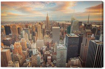 Tableau sur Toile Coucher de soleil sur New York donnant sur le centre de Manhattan