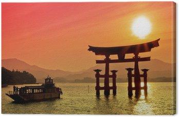 Tableau sur Toile Coucher de soleil vue de Torii, Miyajima, Japon