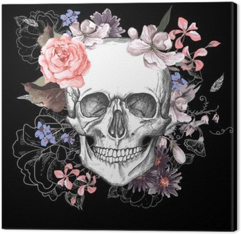Tableau sur Toile Crâne et fleurs jour des morts