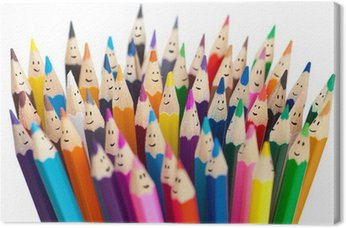 Tableau sur Toile Crayons colorés comme des visages souriants personnes isolées. Networ sociale