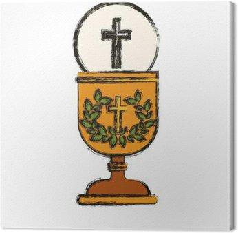Tableau sur Toile Croix et tasse icône. dieu Religion prier foi et croire thème. conception isolée. Vector illustration