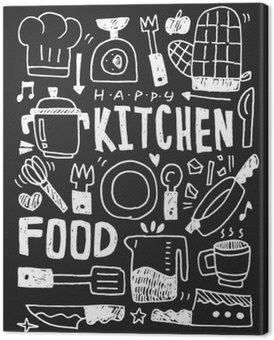 Tableau sur Toile Cuisine éléments doodles main ligne tracée icône, eps10