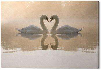Tableau sur Toile Cygnes formant le coeur d'amour