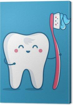 Tableau sur Toile Dent avec la brosse à dents