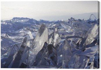 Tableau sur Toile Des morceaux de glace scintillent au soleil. Lac Baïkal, en Russie.
