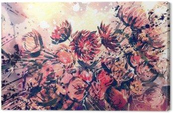 Tableau sur Toile Dessin, aquarelle bouquet de fleurs de paille