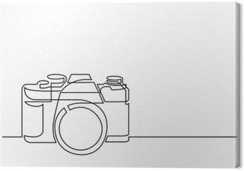 Tableau sur Toile Dessin au trait continu de caméra photo rétro