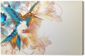 Tableau sur Toile Dessin vectoriel coloré avec réaliste colibri et floral o
