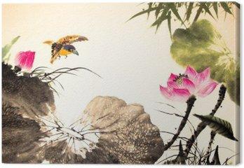 Tableau sur Toile Dessiné la peinture de lotus d'encre main
