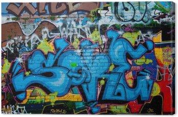 Tableau sur Toile Détail des graffitis sur le mur de briques texture