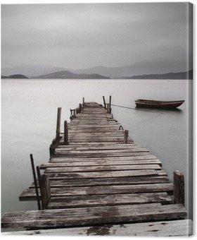 Tableau sur Toile Donnant sur un quai et un bateau, une faible saturation