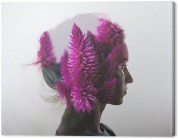 Tableau sur Toile Double exposition Creative avec le portrait de la jeune fille et des fleurs