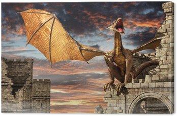 Tableau sur Toile Dragon sur Château