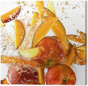 Tableau sur Toile Éclaboussures de pommes fraîches et mangue