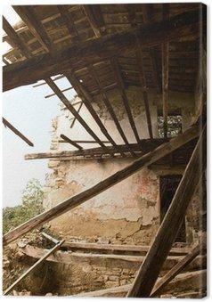 Tableau sur Toile Effritement maison avec des poutres en bois