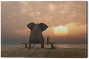 Tableau sur Toile Éléphant et chien de s'asseoir sur une plage en été