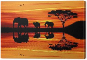 Tableau sur Toile Éléphant silhouette au coucher du soleil