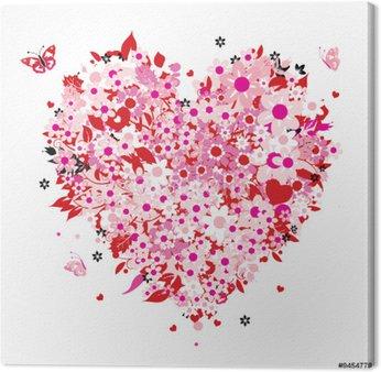 Tableau sur Toile En forme de cœur floral