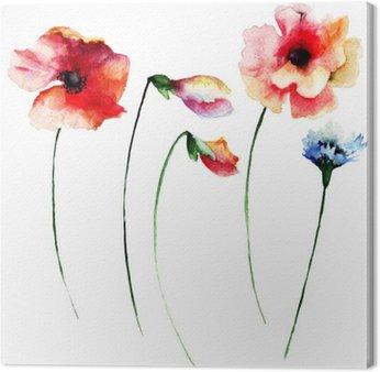 Tableau sur Toile Ensemble de fleurs à l'aquarelle d'été