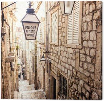 Tableau sur Toile Escaliers raides et rue étroite de la vieille ville de Dubrovnik