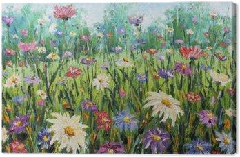 Tableau sur Toile Été Les fleurs sauvages, peinture à l'huile