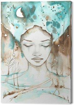 Tableau sur Toile Fabuleuse illustration d'un portrait abstrait d'une fille.