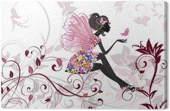 Tableau sur Toile Fée de fleur avec papillons