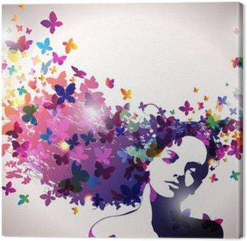 Tableau sur Toile Femme avec des papillons dans les cheveux.