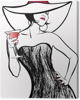 Tableau sur Toile Femme avec un chapeau de boire un cocktail
