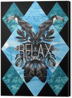 Tableau sur Toile , feuilles graphiques Toucan et mer bleue miroir print